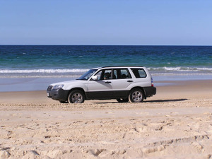 The wagon on the beach