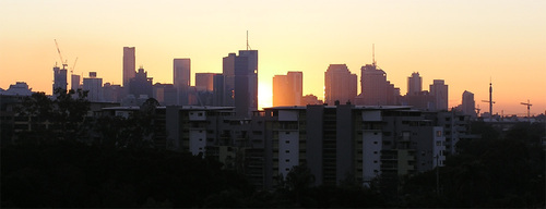 City skyline at dawn.